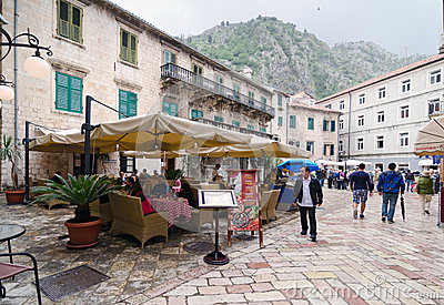 Kotor. Street Cafe Editorial Image