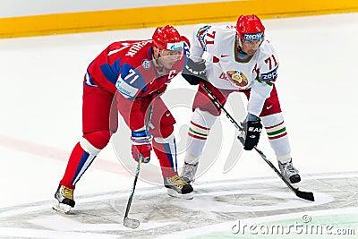 Kovalchuk and Kalyuzhny at IIHF WC 2010 Editorial Stock Photo