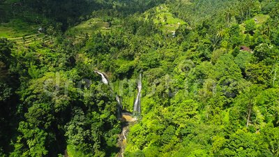 Krachtige Tropische Waterval in Groene Regenwoudwaterval dichtbij Padieveld stock videobeelden