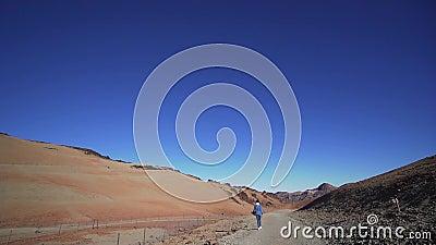 Krajobraz wulkaniczny, wzdłuż którego zchodzi atrakcyjna, szczupła dziewczyna Miejsce docelowe podróży, Hiszpania, Teide zdjęcie wideo
