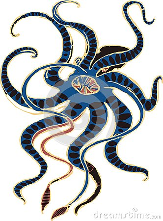 The Kraken. Legendary Sea Monster Giant Octopus Vector Stock ...