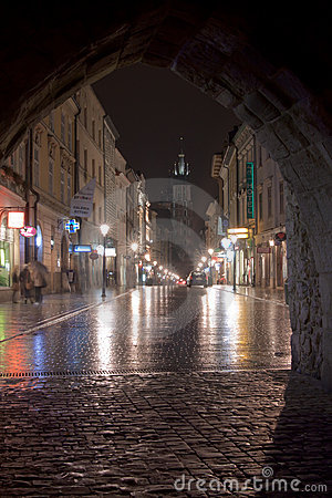 Krakow, florjanska street Editorial Stock Photo