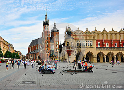 Krakow main square Editorial Photo