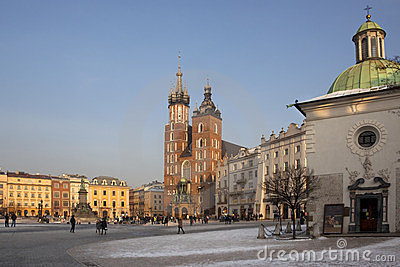 Krakow Market Square - Poland Editorial Photo