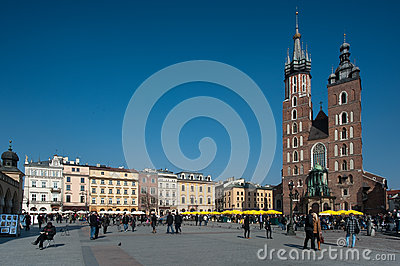 Krakow Old Town Square Editorial Photography