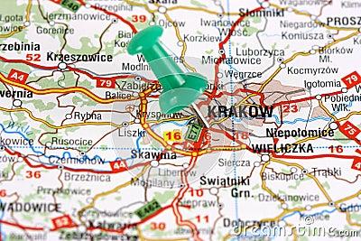 Krakow pinned on map