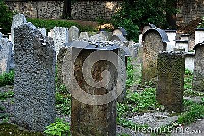 Krakow, Poland: Old Jewish Cemetery Gravestones Editorial Stock Image