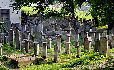 Krakow, Poland: Remu h Synagogue Cemetery Editorial Stock Photo