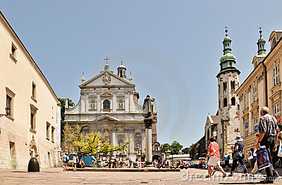 Krakow, Tourists on Saint Mary Magdalene Square Editorial Photography