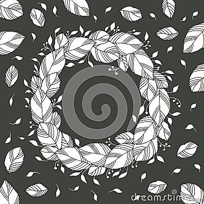 kranz von den bl ttern schwarzweiss vektor abbildung bild 70170398. Black Bedroom Furniture Sets. Home Design Ideas