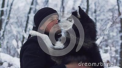 Kratzer und Anschläge des jungen Mannes ein bester Freund des schönen sibirischen Huskys im schneebedeckten Hintergrund des Winte stock video footage