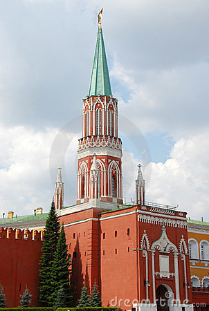 Kremlin Nikolskaya tower on Red Square in Moscow