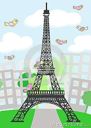 Kreskówka Paryż z ptakami