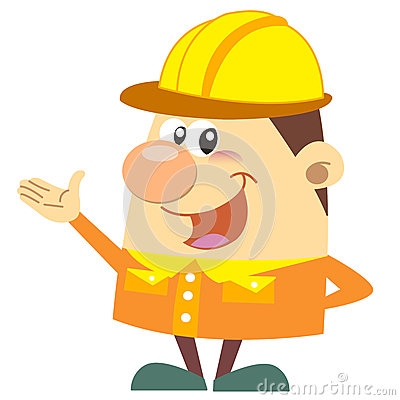 Kreskówka pracownik budowlany z białym tłem