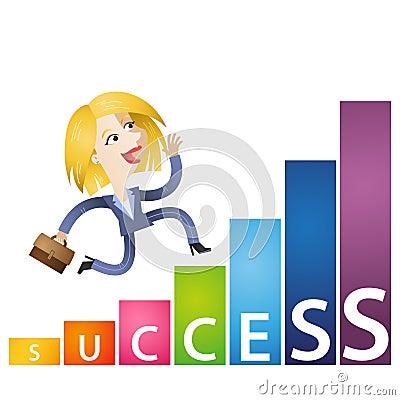 Kreskówki biznesowej kobiety dochodu mapy narastający sukces