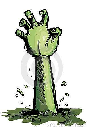 Kreskówki zieleni ręki żywy trup