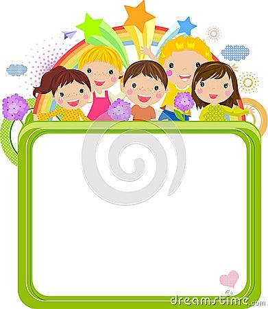 Kreskówka dzieciaki śliczni ramowi