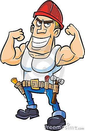 Kreskówka pracownik napina jego mięśnie