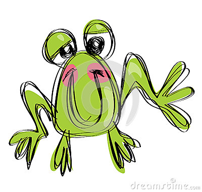 Kreskówki dziecka uśmiechnięta żaba w naif rysunku dziecięcym stylu