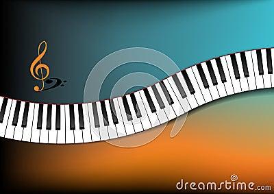 Kricka och krökt pianotangentbord för orange bakgrund