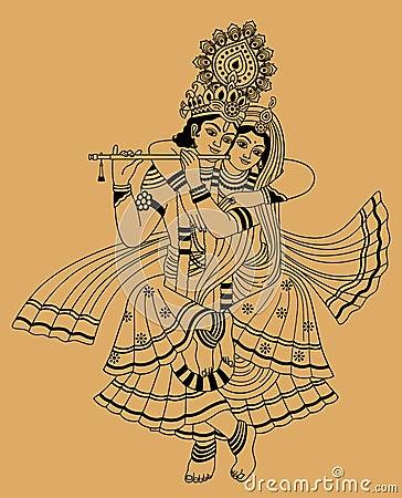 Krishna and his wife