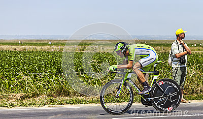骑自行车者Kristijan Koren 图库摄影片