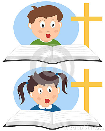 Kristna ungar som läser en bok