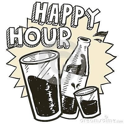 Alkoholskizze der glücklichen Stunde