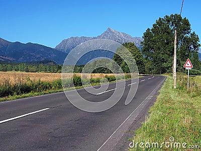 Krivan Peak and road at summer
