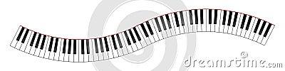 Krökt pianotangentbord