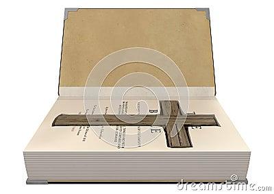 Kruisbeeld in een Bijbel wordt verborgen die