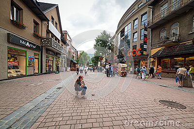 Krupowki street in Zakopane, Poland Editorial Photo