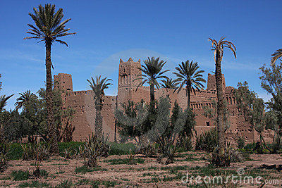 Ksar in Skoura with palm trees