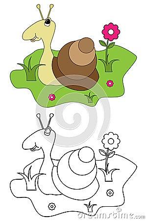 Książkowy kolorystyki dzieciaków strony ślimaczek