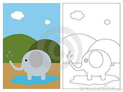 Książkowa kolorystyki słonia strona