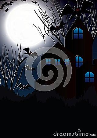 Księżyc halloweenowy Nietoperz House_eps
