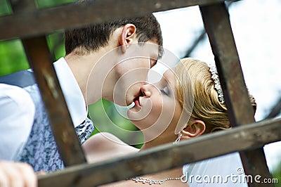 Küssen Sie die Braut und den Bräutigam am Hochzeitsweg