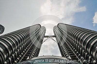 KUALA LUMPUR - APRIL 10: General view of Petronas Twin Towers Editorial Stock Photo