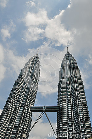 KUALA LUMPUR - APRIL 10: General view of Petronas Twin Towers Editorial Stock Image