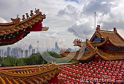 Kuala Lumpur cityscape and china roofs