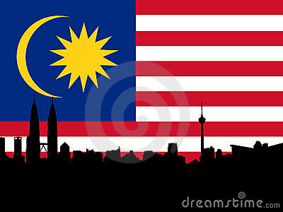Kuala Lumpur with flag