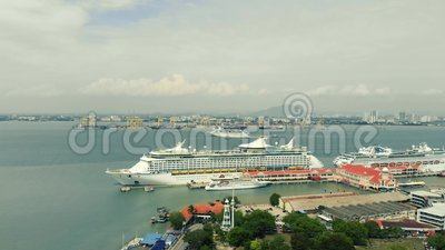 Aerial view of cruise ship. Kuala Lumpur, Malaysia - August 12, 2018 : Aerial view of cruise ship stops at Penang`s port before heading to Phuket stock footage