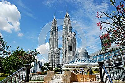 Kuala Lumpur, Malaysia: Mosque & Towers Editorial Stock Photo