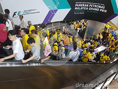KUALA LUMPUR, MALAYSIA - 19 NOV 216: Thousands of Bersih 5 protesters on the KLCC LRT metro station. Editorial Image