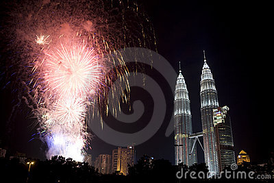 Kuala Lumpur New Year Fireworks Display Editorial Photography