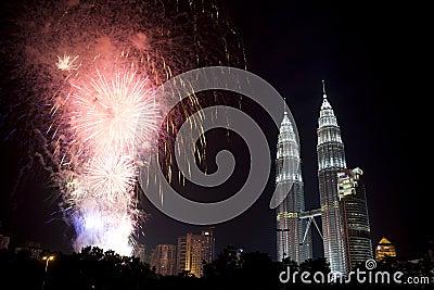 Kuala Lumpur New Year Fireworks Display Editorial Photography