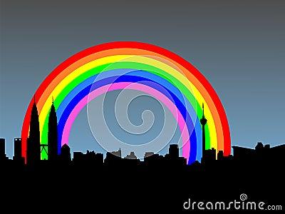 Kuala Lumpur with rainbow