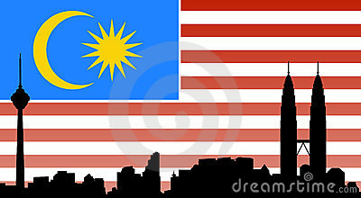 Kuala lumpur skyline with flag