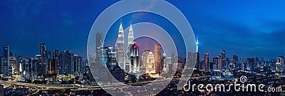 Kuala lumpur skyline at night, Malaysia, Kuala lumpur is capital city of Malaysia Stock Photo