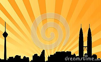 Kuala lumpur skyline vector background